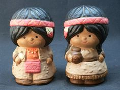 Native American Indian Girl and Boy Ceramic Salt & Pepper Shaker Set Vintage 1970's Taiwan Ceramic, $9.99