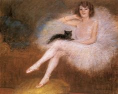 Ballerina With A Black Cat  Pierre Carrier Belleuse