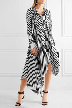 Monse - Asymmetric Striped Silk-twill Midi Dress - Black