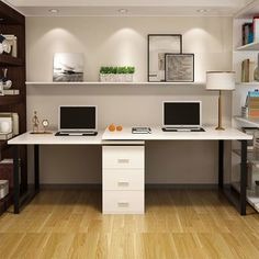 30 Inspiring Double Desk Home Office Design Ideas Home Office Space, Home Office Desks, Cheap Office Furniture, Credenza Desks, Home, Home Office Furniture, Office Makeover, Home Office Design, Office Design