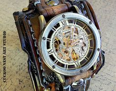 Steampunk Wrist Watch Leather Watch Skeleton watch by dganin Brown Leather Watch, Leather Watch Bands, Wrap Watches, Watches For Men, Pocket Watches, Leather Cuffs, Leather Men, Black Leather, Cuir Vintage