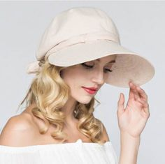 Cheap sun protection hat with bow design summer riding cotton sun hats