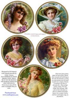 Coasters 5 beautiful Vintage ladies 2 gold frame on Craftsuprint - Add To Basket!
