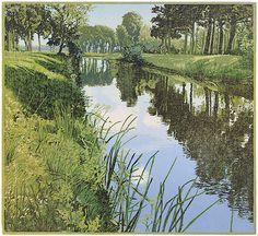 Siemen Dijkstra: Oranjekanaal NZ reduction woodcut 28.0 x 30.5 cm - Houtsnede - 2002