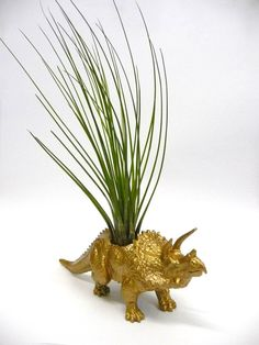 Gold Triceratops Dinosaur Planter with Air Plant by WhatJesseDid