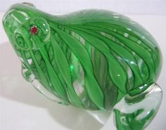 Bullfrog Paperweight Art Glass Jeremiah was a Bullfrog Handblown Millifiore XLG #unknown
