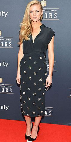 """BROOKLYN DECKER That sideswept hair obviously gets a """"Love it"""" vote, but how about the model's sleeveless silk blouse and crystal-embellished pencil skirt at the NFL Honors event in N.Y.C.?"""