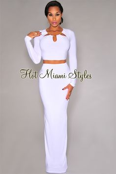 White Gold Neckline Detail Maxi Two Piece Set
