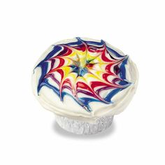 A quick idea for making tiedye frosting.  For a large cake, you may want to use a dull knife to drag through the gel to cover more ground.