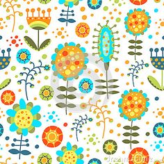 Seamless bright floral pattern on a white backgrou by Lilipom10, via Dreamstime