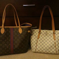 My Louis Vuitton Purses Neverfull MM in Monogram customized with purple and maroon stripe with initials and a purple interior Totally PM in Damier Azur Louis Vuitton Bags Shoulder Bags