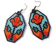 Colorful flower seed bead  earrings - summer jewelry, peyote earrings, orange / sky blue, beaded earrings via Etsy