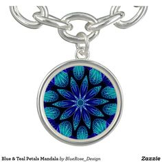 Blue & Teal Petals Mandala Bracelet Purple Teal, Blue, Photo Charms, Memorable Gifts, How To Memorize Things, Mandala, Perfume, Pendant Necklace, Bracelets