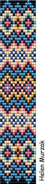 Geometric loom bracelet pattern tribal square stitch pattern