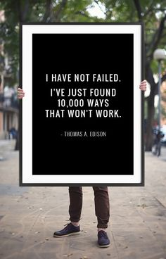 "Home Decor Quote Print ""I have not failed..."" Printable Poster – Inspirational Wall Decor Typographic Art Digital Print *INSTANT DOWNLOAD*"