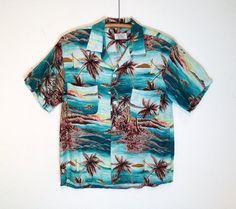 vintage 1940's / rayon hawiian shirt / by penny's by BarrioVintage