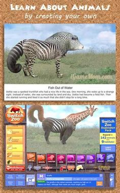 Fun way to learn about animals - kids can create their own animals with the parts of known animals and learn fun facts of the original animals