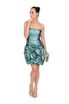 Vestido curto em tecido metálico com drapeados que formam uma flor na saia. Cod. 101184   #zumzum #zumzumfesta #vestido #festa #vestidodefesta #dress #partydress