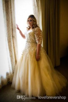 2014 Elegant Plus Size Wedding Dresses with Half Sleeve A-Line Illusion Lace Appliques Wedding Gowns