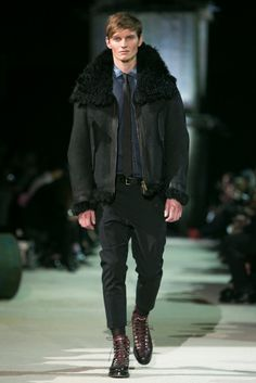 A look from the Dsquared2 Fall 2015 Menswear collection. Shearling