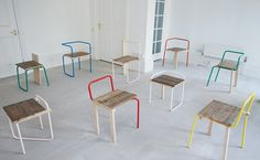 Tomás Alonso is a Spanish furniture designer. He& work is so simple and clean, just looking at it gives me serenity. I really like the mat. Pipe Furniture, Recycled Furniture, Design Furniture, Modern Furniture, Outdoor Furniture Sets, Colorful Chairs, Design Studio, Take A Seat, Sofa Chair