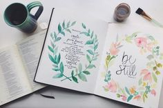 Create in me a clean heart. Psalm 51 // Be still. Psalm 37 //oh how I love this! Scripture Art, Bible Art, Watercolor Hand Lettering, Watercolor Journal, Illustrated Faith, Word Art, Gods Love, Psalms, Verses