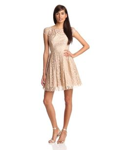 ABS Allen Schwartz Women's Cut Out Back Dress With Cap Sleeve, Champagne, 12 - http://womencontemporarydress.ellprint.com/abs-allen-schwartz-womens-cut-out-back-dress-with-cap-sleeve-champagne-12/