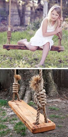 DIY Repurposed Tree Swing //