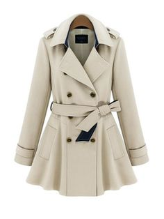 Polo Collar Double Breasted Long Slim Trench Coat