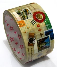 Packing Tape Pattern: travel. Landscape picture. Medal.