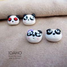 panda bear ear rings