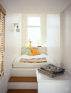 Cosy box room idea (and could have loads of storage underneath!). Potentially use a roll-away futon to use the space for other purposes (mediation / yoga / reading nook / etc)