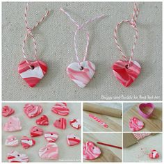 DIY Polymer Marble How To - these heart charms are so cute and easy to make and here is a great tutorial for marbling your own clay