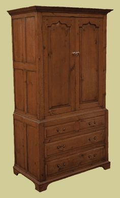 Handmade in fruitwood with 4 drawer chest and ogee panelled upper doors. Also available in oak. Oak Bedroom Furniture, Bedside Cabinet, Chest Of Drawers, Cupboard, Armoire, Antiques, Home Decor, Style, Clothes Stand