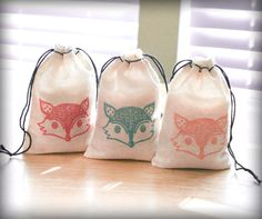 Fox favor bags set 15 with stamp gift sack boy birthday party baby shower goodies treat bag on Etsy, $14.30 AUD
