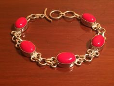 "Sterling Silver Flaming Red Oval Cabochons Toggle Bracelet 7.5 - 8.5"" #Unbranded"