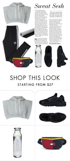 """Retro Minimalist Gym Fit"" by thecrucialchick ❤ liked on Polyvore featuring adidas, Maison Margiela, NIKE, Susquehanna Glass, Tommy Hilfiger, Gaiam, contest and contestentry"