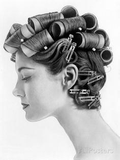 1960s Bouffant Hair Styles Created with Big Rollers and Pin Curls to Create a Soft Flip Up at Neck Photographic Print
