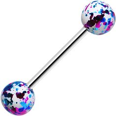 316L Steel White Pink Blue Enamel Metallic Splash Barbell Tongue Ring | Body Candy Body Jewelry #bodycandy