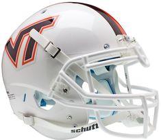 "Virginia Tech Hokies Authentic College XP Football Helmet Schutt ""White w/Stripe"""