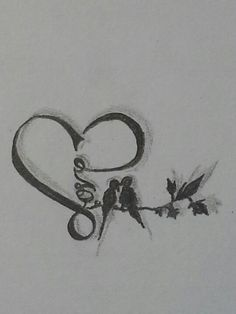 heart shaped with love in it with two love birds on a branch.. plain but cute. (i think this a sketch for a tattoo but I would love this as a picture blown up in my house)