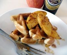 Beer Waffles with Cinnamon-Caramel Apples, using German Pilsner.  #CraftBeer #Food