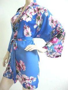Silk Satin Kimono Robe - HANDMADE to ORDER in Light Blue Floral Short Kimono Gift for Her Bridesmaid Robes Wedding Robes Loungwear via Etsy