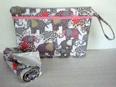 Diaper Clutch Changing Pad Set with Zipper and Pockets - Pink and Grey Elephant - Nappy Clutch - Michael Miller Print