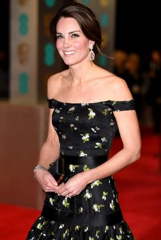 Duchess of Cambridge Kate (nee Middleton) attends BAFTAs in London on February 12, 2017, dressed in Alexander McQueen