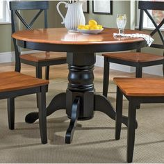 home styles round pedestal dining table in black