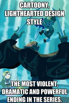 For real. Link plunges his sword into Ganondorf's face! The Legend of Zelda: Wind Waker is awesome!!