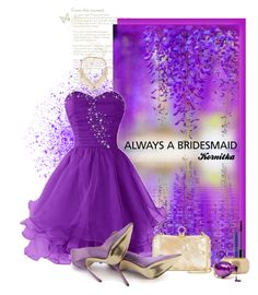 """""""nr 1180 / Always a Bridesmaid"""" by kornitka ❤ liked on Polyvore featuring Halston Heritage, Manolo Blahnik, ABS by Allen Schwartz, Bold Elements and alwaysabridesmaid"""