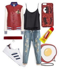 """retro red"" by holographicdisney ❤ liked on Polyvore featuring Gucci, Circus by Sam Edelman, adidas, H&M, Joomi Lim, Chiara Ferragni and Carmex"