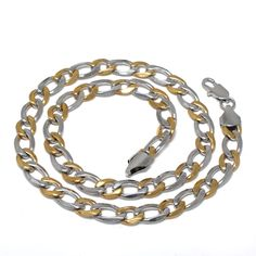 Cheap Alternating Silver Golden Stainless Steel Chain Necklace at Clio Jewelry, code: 02116 Stainless Steel Necklace, Stainless Steel Chain, Long Chain Necklace, Color Mixing, Bracelets, Necklaces, Silver, Jewelry, Bangle Bracelets